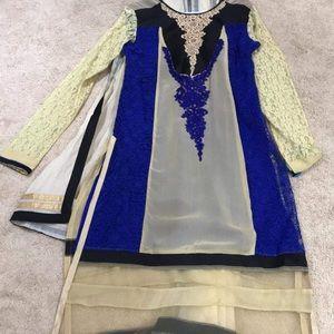 New Indian Silk Designer Anarkali w/ Dupatta
